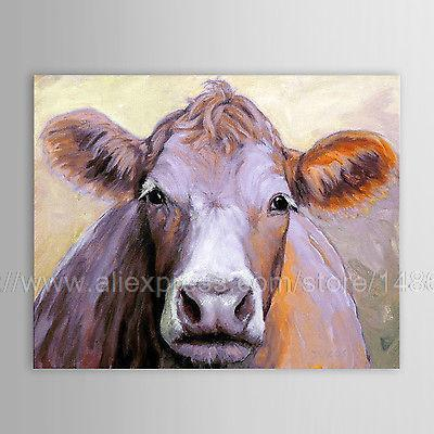 Home Decor Hand Painted Animal Oil Painting Cow Large Modern Wall
