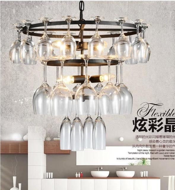 De luxe 50 w 3 couches vin lustre en verre lumière lampe salle à manger lampe