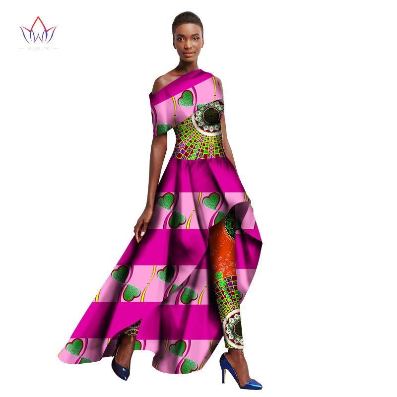 2017 Spring Ankara Fashions Traditional African Clothing for Women Long Dresses + Long Pants Originality Women Pants Suit WY1364