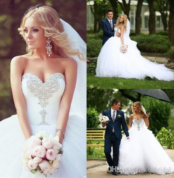 2017 bling bling ball gown wedding dresses white organza crystal beaded tulle plus size wedding bridal