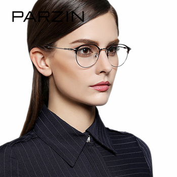 ac1f9030851 PARZIN Classic Retro Metal Glasses Frame With Clear Lens High Quality Young  Style Myopia Prescription Optics