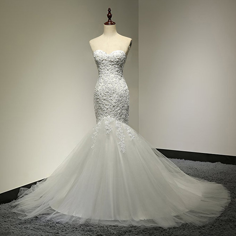 Sweetheart Beaded Mermaid Wedding Dress 2018 Real Pictures Lace Wedding Dress Tulle Bridal Wedding Gown Vestido De Noiva SL-W58