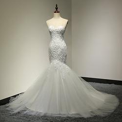 Sweetheart Beaded Mermaid Wedding Dress 2018 Real Pictures Lace Wedding Dress Tulle Bridal Wedding Gown Vestido De Noiva SL-W58 1