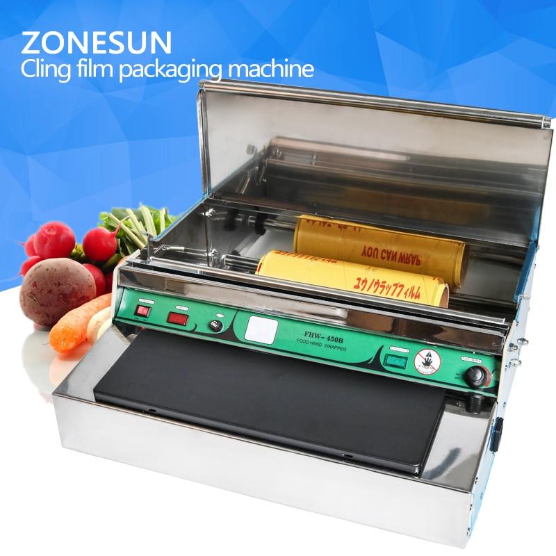 ZONESUN sealing machine Stainless steel cling film sealing Food fruit vegetable fresh film wrapper, cling film sealer packaging zonesun pe stretch film machine