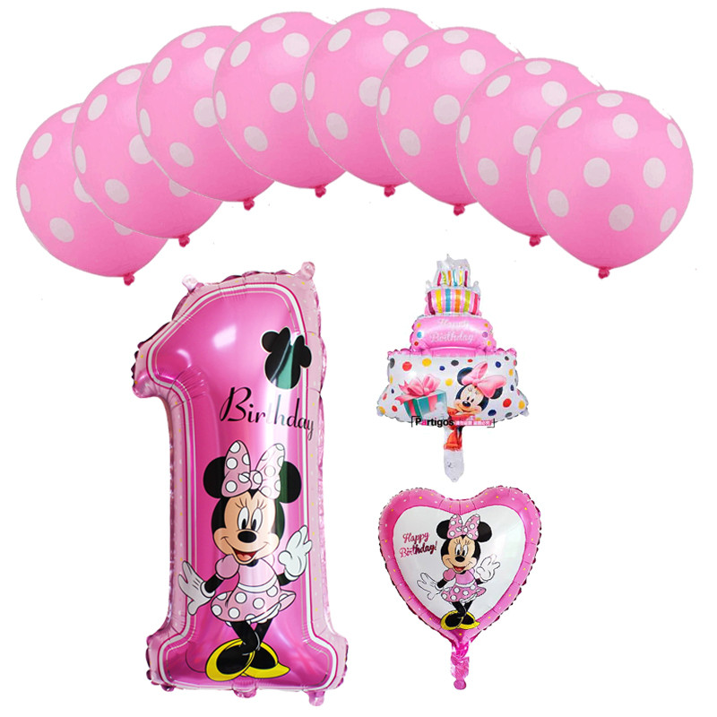 12pcs mickey minnie mouse foil balloons number 1 9 foil balloons mini cake globos baby shower birthday party decoration supplies in Ballons Accessories from Home Garden