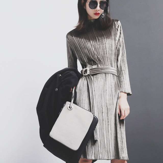 [TWOTWINSTYLE] Spring Long Sleeves Pleated Velvet Dresses Women With Belt High Waist New Fashion
