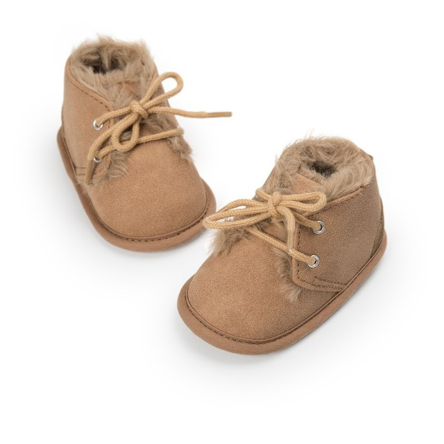 Baby Shoes PU Warm Snow Boots Lace-Up Round Toe Pu Baby Boys Girls Shoes Plush Boots