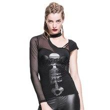 Steampunk Long Sleeves T-shirt Gothic Fashional Persoanlity Casual T-shirts Women's Long Short Sleeves Tshirt Tops