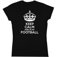 Keep Calm And Play Footballer men Womens T Shirt Sport  Free shipping Quote Print Short Sleeve Hot Tops Tshirt Homme