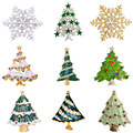 MZC Cheap Silver Gold Christmas Snowflake Brooch Colorful Enamel Tree Broches Gift Jewelry Decorative Pins Fashionable Brooches