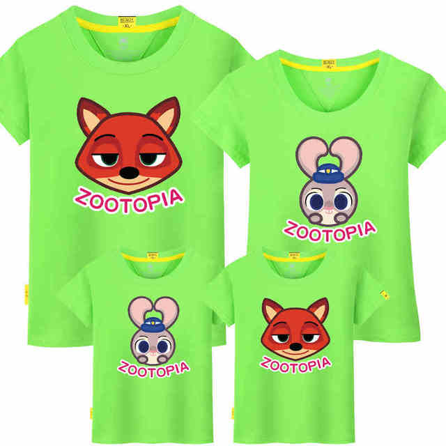 2016 Matching Mother And Daughter Girls Zootopia T-shirt Family Clothing Father Son Boy Family Look Zootopia t-shirt Woman Man
