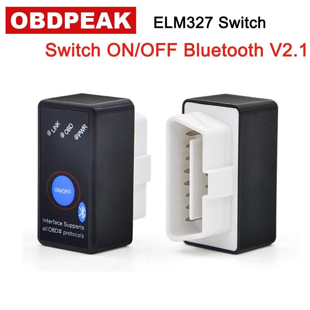 V2.1 Bluetooth 4.0 ON/OFF Switch MINI ELM327 ELM 327 OBD2 / OBDII Version 2.1 for Android Windows Car Code Reader Free Ship latest super mini elm327 bluetooth v2 1 elm 327 car code reader obd2 car diagnostic tool for obdii protocol for android windows