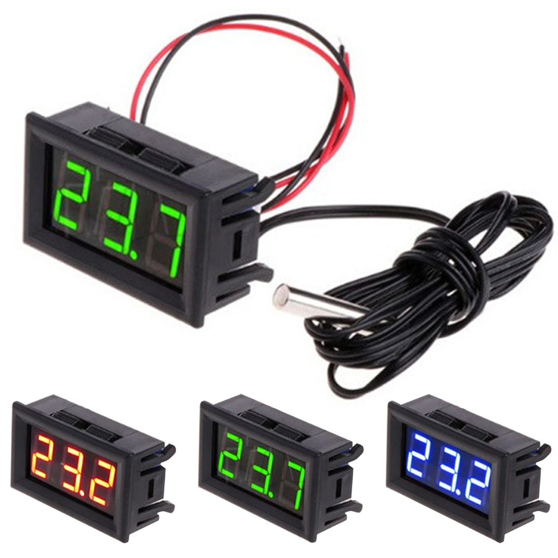 DC 5-12V Digital LED -50 ~ 110C Thermometer Automotive Temperature Monitor Panel Meter Digital Thermometer green led mini temperature meter dc 12v 24v digital thermometer 1m ds18b20 sensor