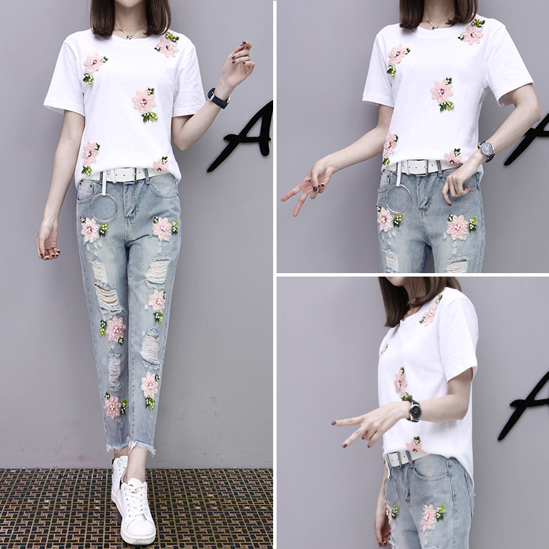 2017 Summer Women Embroidery Bead Sets Sportsing T-shirt+Hole Jeans Casual Two-piece Fashion Suit Lovely Student Clothes YAGENZ 4