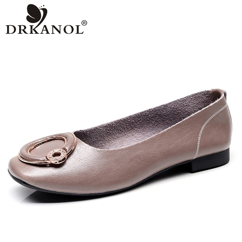 DRKANOL Square Toe Genuine Leather Flats Loafers Women Flat Shoes Fashion Rhinestone Shallow Slip On Flat Casual Shoes Woman drkanol summer slip on flats breathable hollow out women flat loafers shoes round toe bow knot soft genuine leather casual shoes