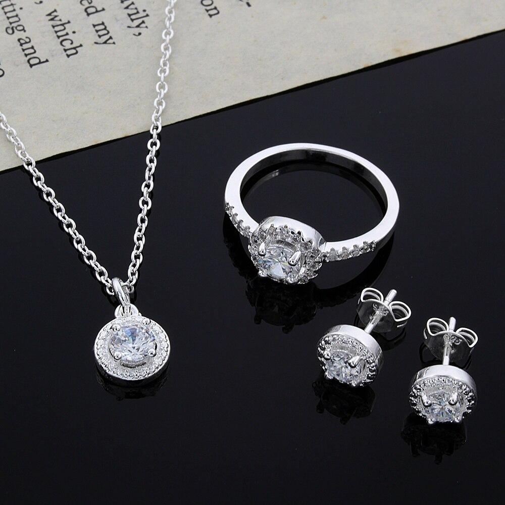 SILVER PLATED JEWELLERY SET BRACELET EARRINGS NECKLACE RING WOMEN FASHION