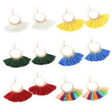 Women Fashion Big Circle Bohemian Vintage Long Dangle Drop Earrings Women Jewelry Gift