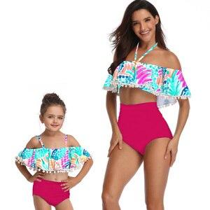 CONICE نيني الأم وابنتها ملابس السباحة الأم و لي ملابس السباحة بيكيني الأسرة مطابقة الملابس وتتسابق الطفل فساتين الملابس