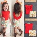 Crianças Meninas Da Criança Do Bebê Roupas Sets Bonito Moda Red Ruffled T-Shirt Flor lápis Saia de Verão Fresco 2 Pcs Roupas 1 2 3 4 5 6 7