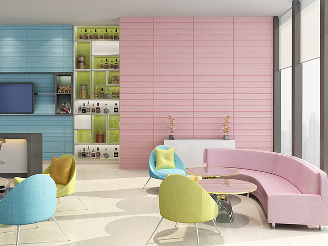 DIY 3 d wallpaper wooden striped wall sticker adhesive model of soft ...