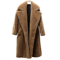 cool under zero new arrival free shipping real sheep fur coat long style wool coat camel teddy coat over size winter women coat