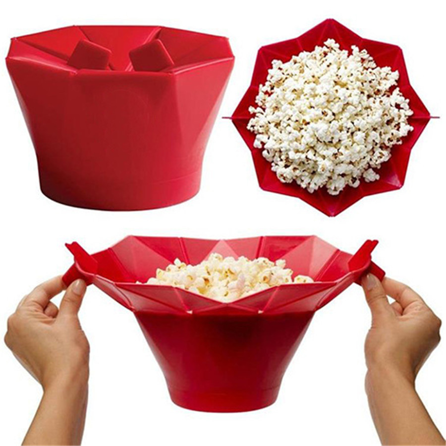 Silicone Microwave Popcorn Bowl Popper Maker Container Healthy Snack Home New Baking DIY Tools