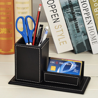 Leather Wooden Desk Pen Pencils Box Holder With Business Card Stand Remote Control Case Desk Organizer
