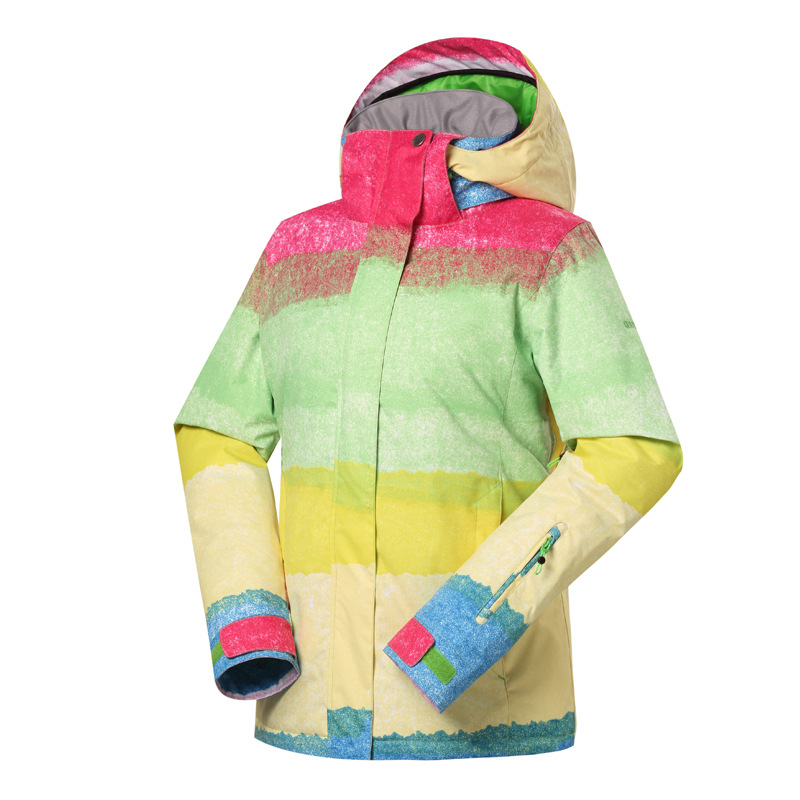 Gsou neige femmes Ski costume imperméable Snowboard veste coupe-vent chaud coloré hiver Sport manteau - 4