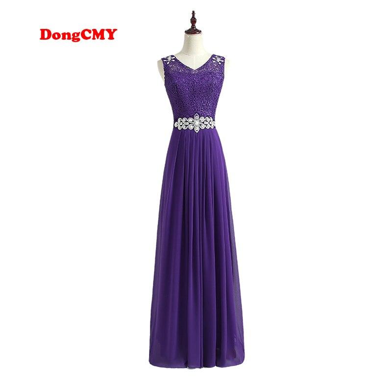 DongCMY WT01268 2019 New Fashion Long Design Purple Party Lace and Chiffon vestidos de festa Plus Size   bridesmaid     dresses