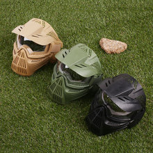 Full Face Mask Outdoor CS War Game Field Tactical Paintball Helmet PC Protective
