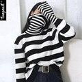 Tangnest suéter de las mujeres 2017 del resorte ocasional de punto jersey de cuello alto rayas de manga larga streetwear wzl1329