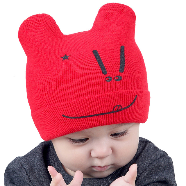 fcc1417a534 Newborn Baby Hat Cotton Infant Beanie For Boys Girls Cute Smile Baby Autumn Beanie  Rabbit Ears