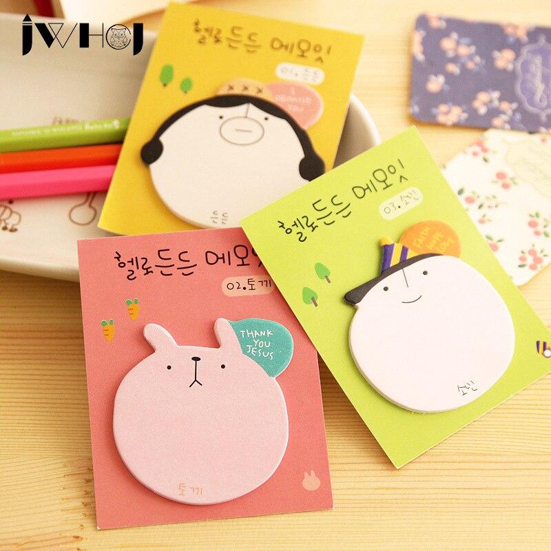 3 pcs/lot kawaii Cartoon head shape ememo pad paper sticky notes post notepad stationery papeleria school supplies