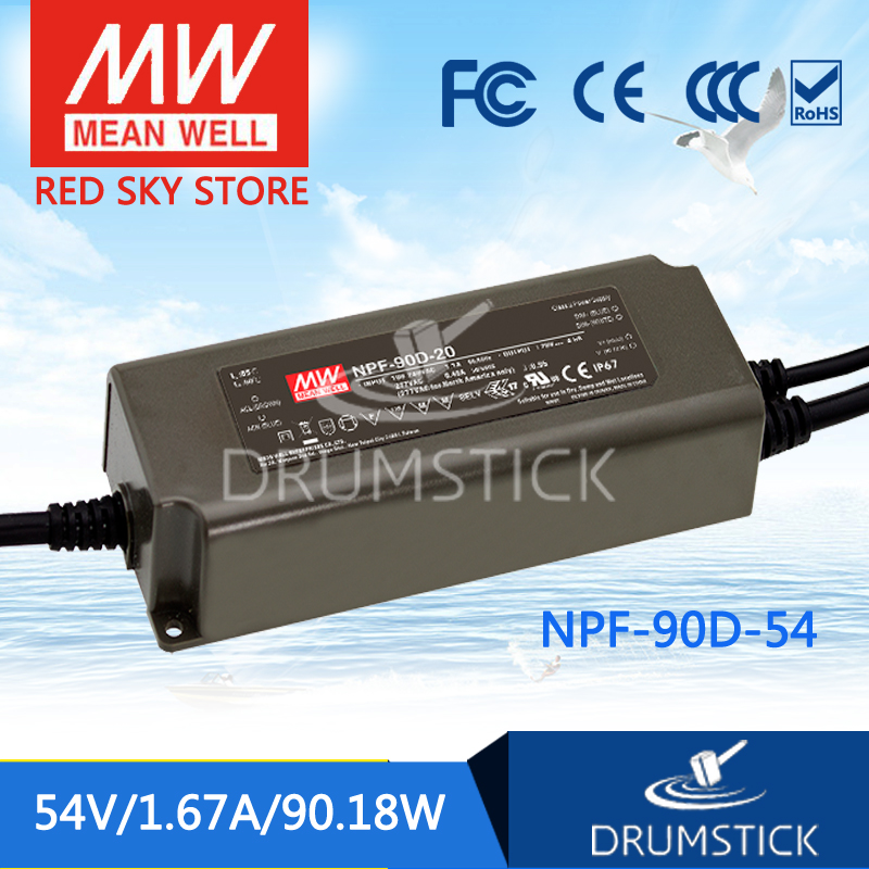 Hot sale MEAN WELL original NPF-90D-54 54V 1.67A meanwell NPF-90D 54V 90.18W Single Output LED Switching Power Supply mean well original npf 40d 36 36v 1 12a meanwell npf 40d 36v 40 32w single output led switching power supply