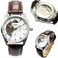 Горячие Продажи Роскошные Механические Часы Мужчины Смотреть Мода Часы Скелет Кожа Бизнес Часы Часы relogio masculino reloj hombre
