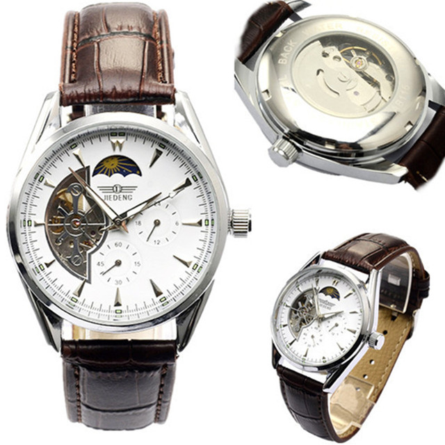 Venda quente de Luxo Homens Mecânicos do Relógio Assistir Moda Skeleton Assista Couro Negócios Relógios Relógio relogio masculino reloj hombre