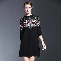 New Arrival Lace Patchwork Embroidery Flowers Women Dress Elegant Half Sleeve Above Knee Mini Black Loose