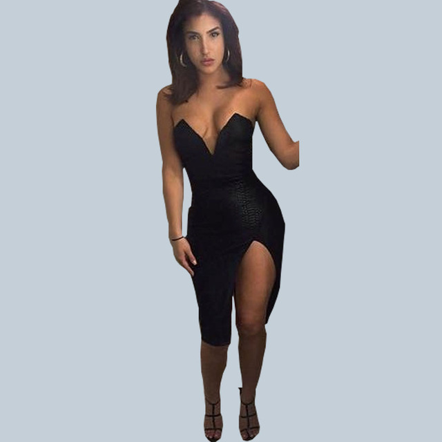 98ee689d4eb4 New 2016 Sexy Fashion Nightclub Women Dresses Black Deep V-neck Cleavage  Leather Wrapped Chest Dress Female NQ0117