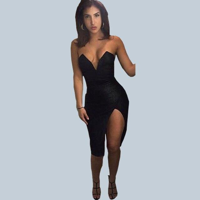 0a418217ecdd Nuevo 2016 moda sexy nightclub mujeres Vestidos negro profundo v-cuello  escote cuero envuelto pecho