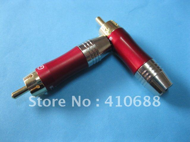 Copper RCA Plug Gold Plated Red Color Audio Video Adapter Connector 40 Pcs per lot Hot Sale High Quality