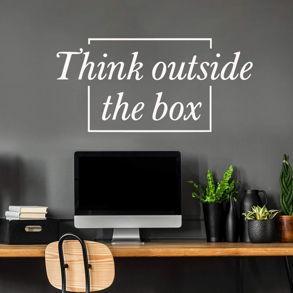 Think Outside Box Phrases Wall Sticker Home Decoration Accessories For Kids Rooms Diy Murals For Room Decor Wallstickers