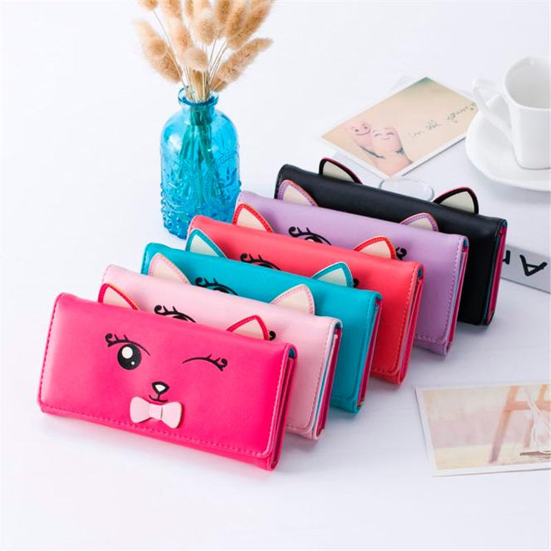 2018 Cute Cartoon Pattern Fashion Design Cat Women Wallets and Purses Brand Leather Long Wallet Female Coin Pocket Card Holders cute cartoon cat pattern pu long wallet for women watermelon red