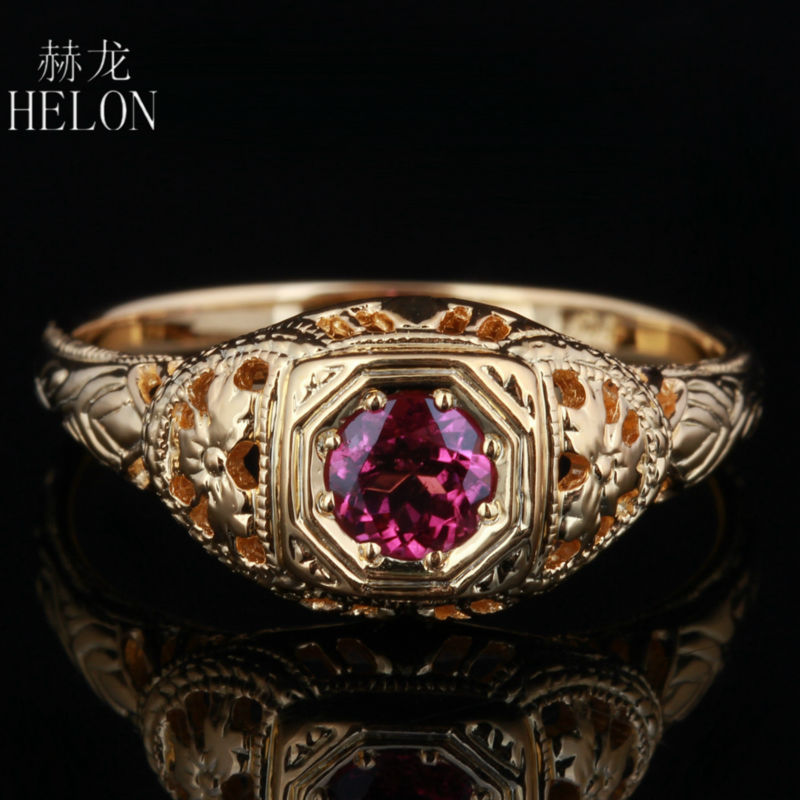 HELON 4mm Round Pave 0 5ct tourmaline Solid 10K Yellow Gold Engagement Wedding Ring New Art