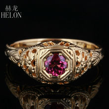 HELON 4mm Round Pave 0.5ct tourmaline Solid 10K Yellow Gold Engagement Wedding Ring New Art Deco Vintage Fashion Womens Ring