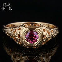 HELON 4mm Round Pave 0.5ct tourmaline Solid 10K Yellow Gold Engagement Wedding Ring New Art Deco Vintage Fashion Women's Ring