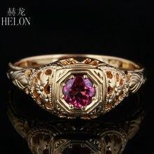HELON 4mm okrągły Pave 0.5ct turmalin stałe 10K żółte złoto pierścionek zaręczynowy nowy Art Deco Vintage moda damska pierścień