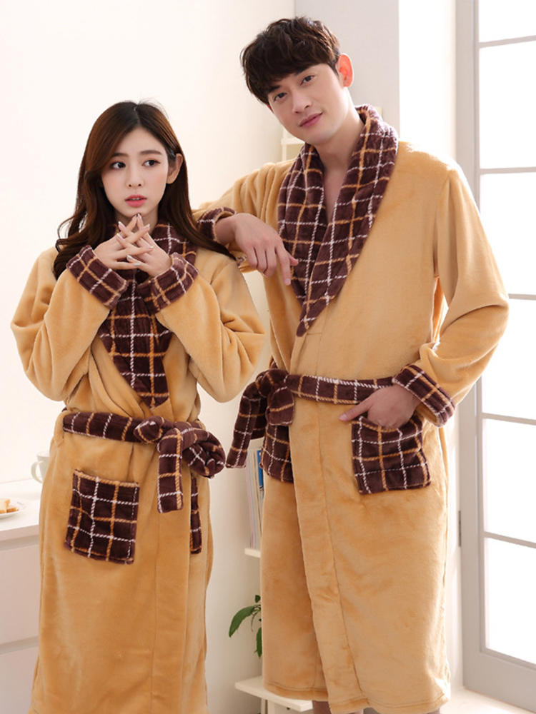 Women Men Flannel Bathrobe Sleepwear Autumn Winter Printed Plush Couple Bath Robe Thick Warm Female Robe
