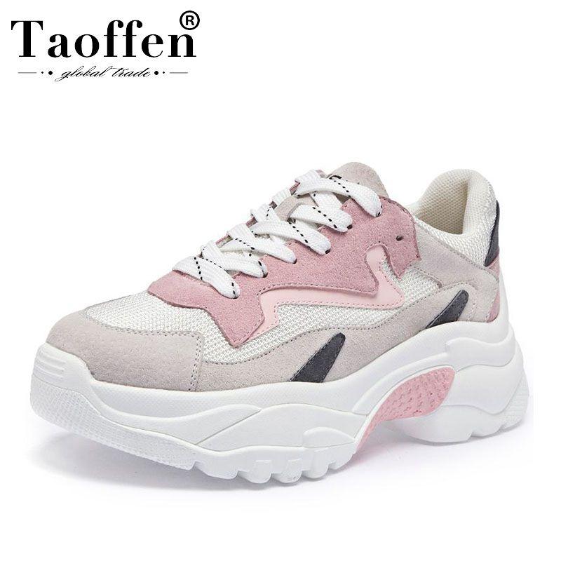Taoffen mode quotidienne jeunes Ins chaussures vulcanisées chaudes femmes 2019 printemps bout rond fond épais baskets chaussures taille 34-39