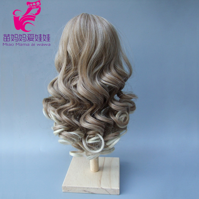 Natural Color Soft Big Wavy Hair Wigs Dark Brown Long Curly BJD Doll Wig 1/3 1/4 1/6 45cm long curly sweet lolita ponytail extension hairpiece wig dark brown