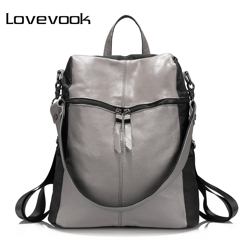 LOVEVOOK brand women backpack genuine leather school backpacks for teenage girls oxford shoulder bag large capacity travel bags jmd backpacks for teenage girls women leather with headphone jack backpack school bag casual large capacity vintage laptop bag